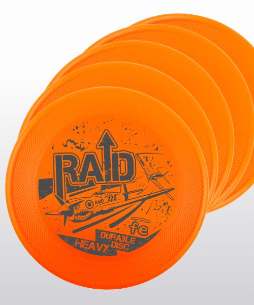 set-up 5 frisbee RAID FE arancione orange hard bite disc resistenza generazione 3
