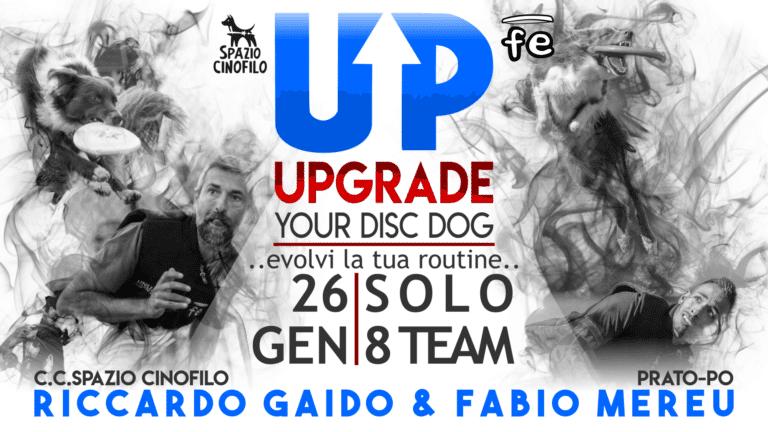 Locandina DISC DOG UPGRADE Prato Gennaio Fabio FE 2020